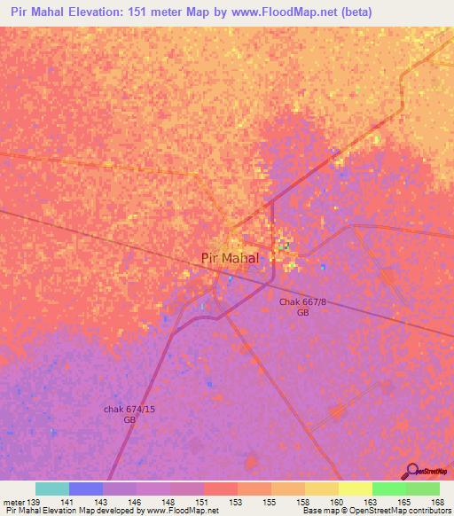 Elevation Of Pir MahalPakistan Elevation Map Topography Contour - Pir mahal map