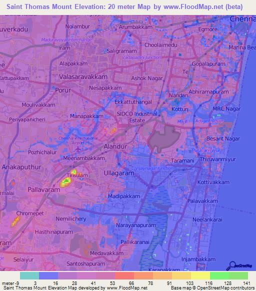 saint thomas mountindia elevation map