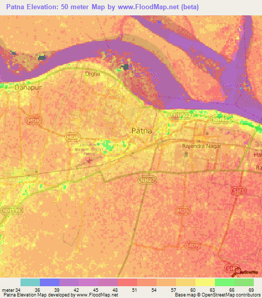 Patna In India Map.Elevation Of Patna India Elevation Map Topography Contour