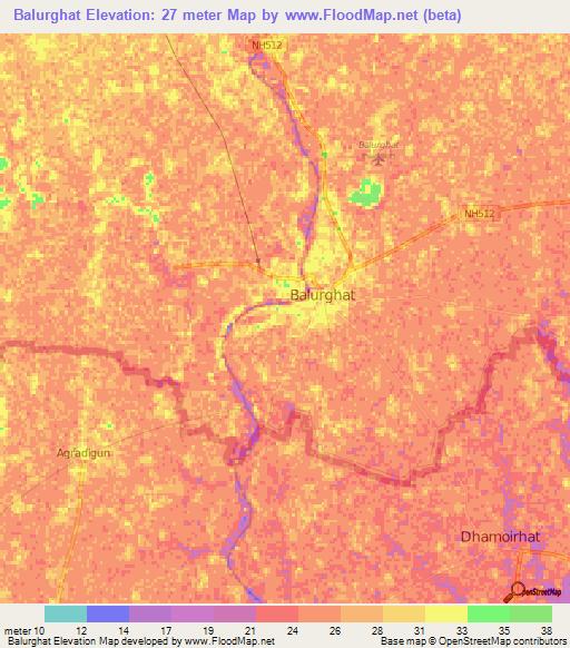 Elevation Of BalurghatIndia Elevation Map Topography Contour - Balurghat map