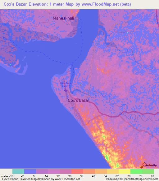 Elevation of Cox's Bazar,desh Elevation Map, Topography, Contour on
