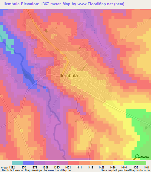 Elevation of IlembulaTanzania Elevation Map Topography Contour