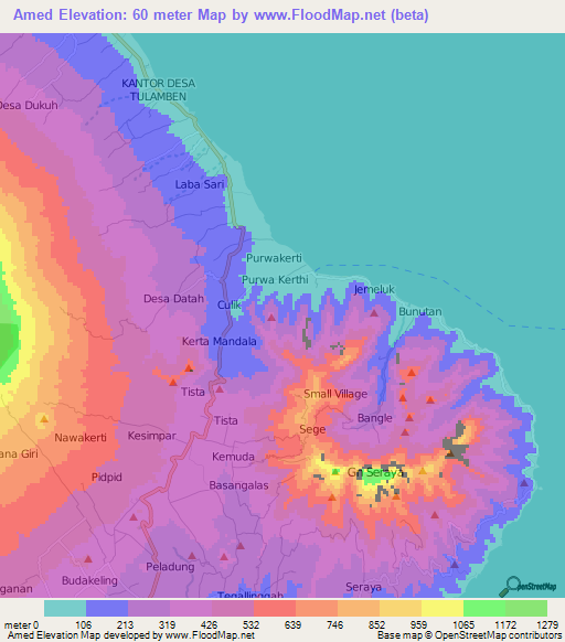Amed Indonesia Map Elevation of Amed,Indonesia Elevation Map, Topography, Contour