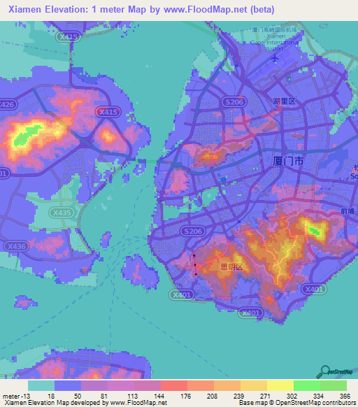 Xiamen China Map.Elevation Of Xiamen China Elevation Map Topography Contour