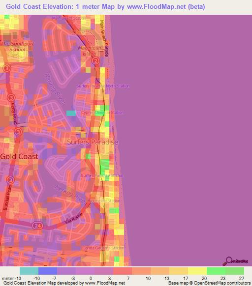 Elevation of Gold Coast,Australia Elevation Map, Topography