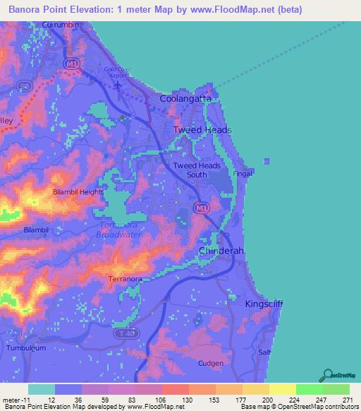 Elevation Of Banora PointAustralia Elevation Map Topography Contour - Australia elevation data
