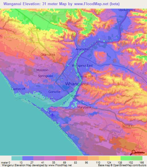 Wanganui New Zealand Map.Elevation Of Wanganui New Zealand Elevation Map Topography Contour