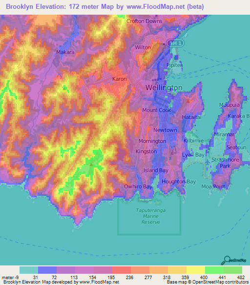 Elevation Of Brooklyn New Zealand Elevation Map Topography Contour