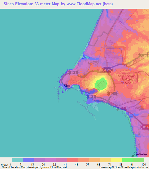 Elevation Of SinesPortugal Elevation Map Topography Contour - Portugal map sines