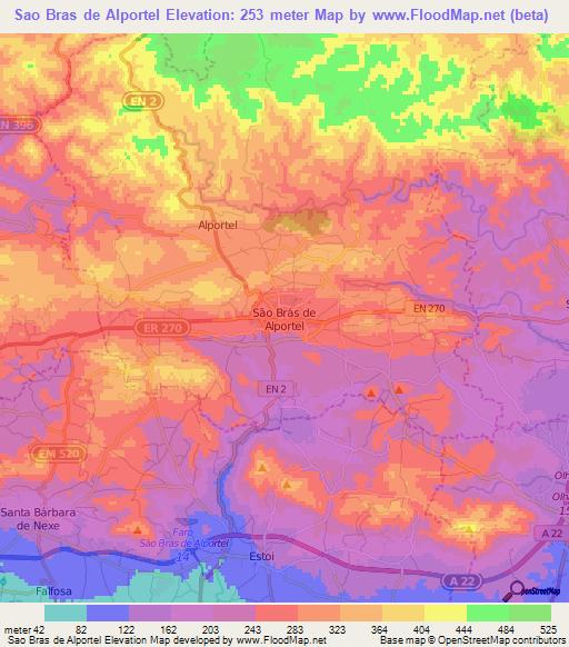 Elevation Of Sao Bras De AlportelPortugal Elevation Map - Portugal elevation map