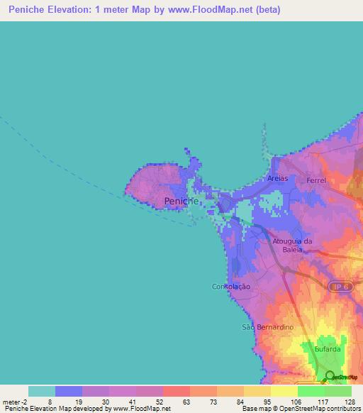 Elevation Of PenichePortugal Elevation Map Topography Contour - Portugal elevation map