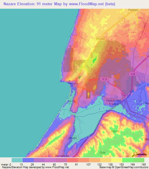 Elevation Of NazarePortugal Elevation Map Topography Contour - Portugal elevation map