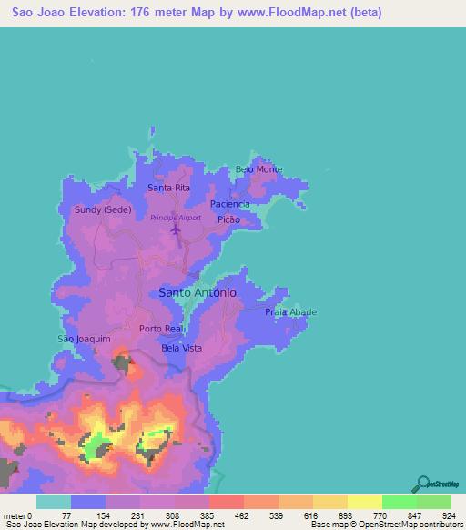 Elevation of Sao Joao,Sao Tome and Principe Elevation Map ... on seychelles map, saudi arabia map, comoros map, bangladesh map, central african republic map, new britain island map, lesotho map, united arab emirates map, tanzania map, trinidad & tobago map, honshu island map, principe island map, hong kong map, eritrea map, tokelau map, u.a.e. map, sri lanka map, tunisia map, niue map,