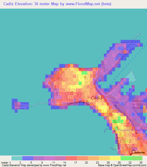 Map Of Spain Cadiz.Elevation Of Cadiz Spain Elevation Map Topography Contour