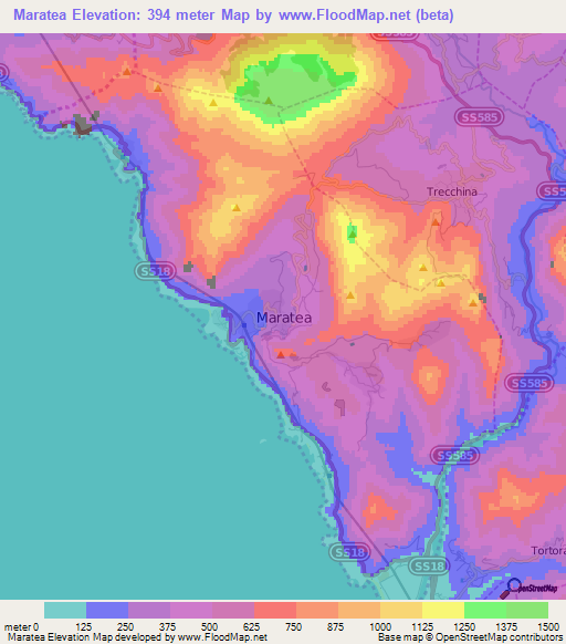 Italy Map 1500.Elevation Of Maratea Italy Elevation Map Topography Contour