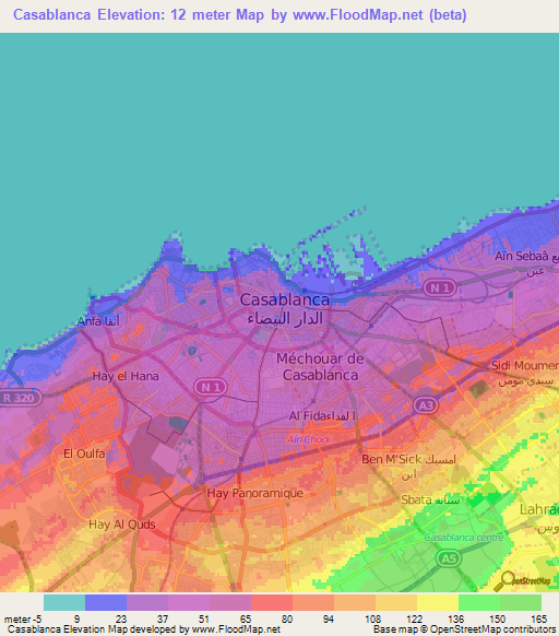 Elevation of Casablanca,Morocco Elevation Map, Topography, Contour on