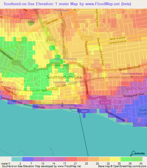Sea Floor Elevation Map : Elevation of southend on sea uk map topography