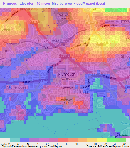 plymouthuk elevation map plymouthuk elevation map