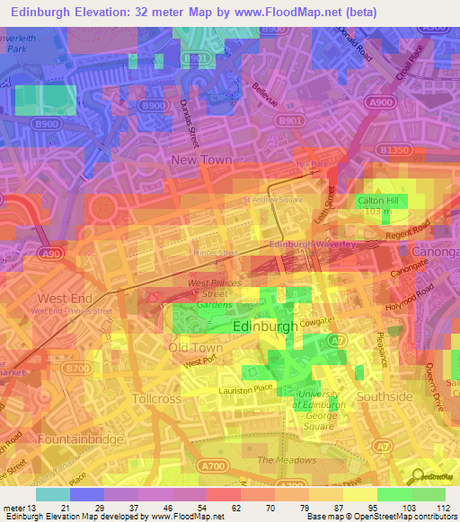 Wood Elevation Edinburgh : Elevation of edinburgh uk map topography contour