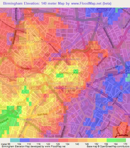 Elevation Of Birmingham Uk Elevation Map Topography Contour