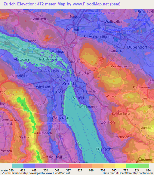 Elevation Of Zurich Switzerland Elevation Map Topography Contour