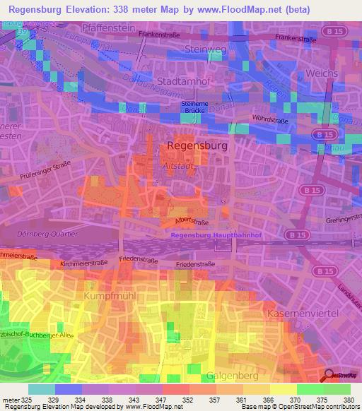 Elevation Of RegensburgGermany Elevation Map Topography Contour - Regensburg map