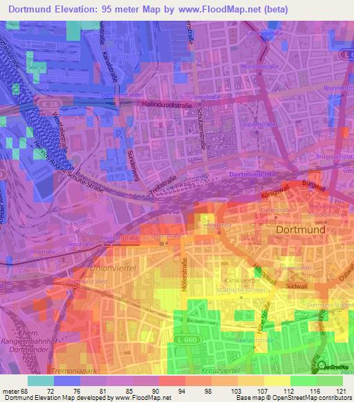 Elevation Of Dortmund Germany Elevation Map Topography Contour