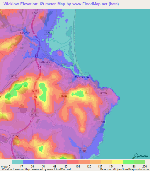 Ireland Elevation Map.Elevation Of Wicklow Ireland Elevation Map Topography Contour