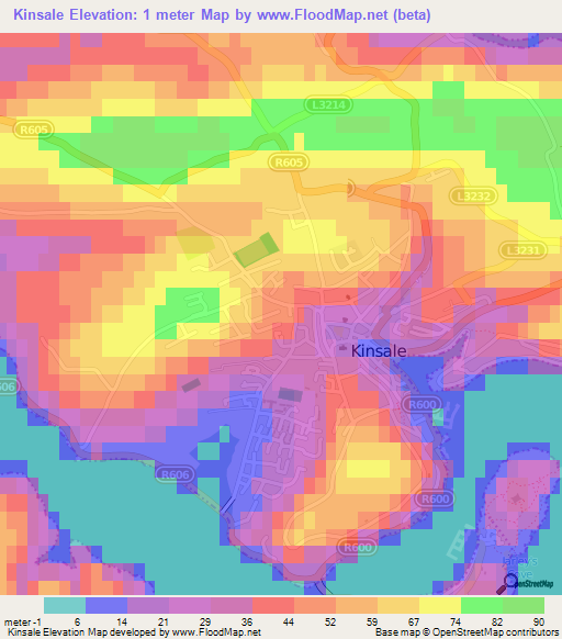 Elevation Of Kinsale Ireland Elevation Map Topography Contour