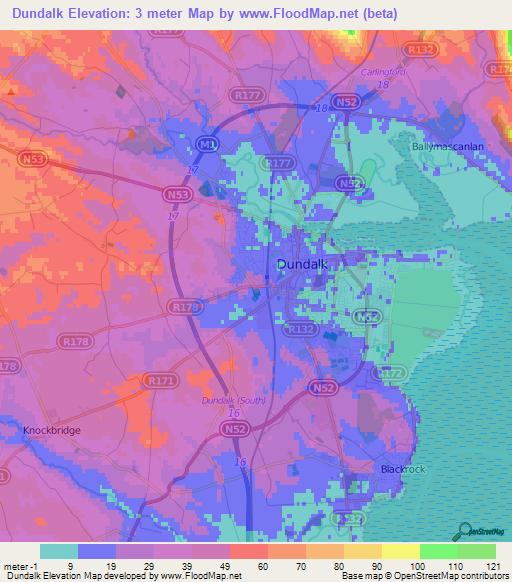Dundalk Map Of Ireland.Elevation Of Dundalk Ireland Elevation Map Topography Contour