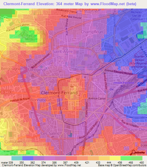 Elevation of ClermontFerrandFrance Elevation Map Topography