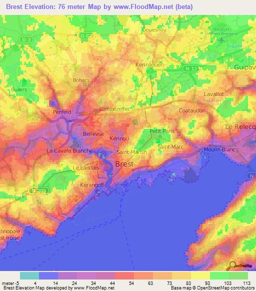 Elevation Of Brest France Elevation Map Topography Contour