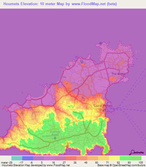 Elevation of Houmets,Guernsey Elevation Map, Topography, Contour on