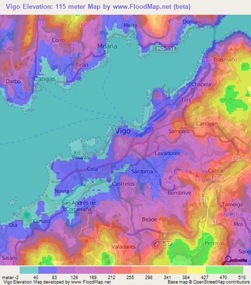 Map Of Spain Vigo.Elevation Of Vigo Spain Elevation Map Topography Contour