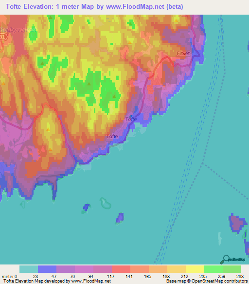 Elevation Of TofteNorway Elevation Map Topography Contour - Norway elevation map