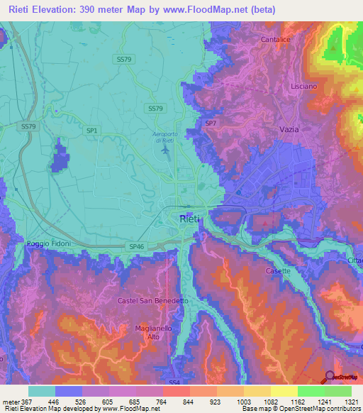 Rieti Italy Map.Elevation Of Rieti Italy Elevation Map Topography Contour
