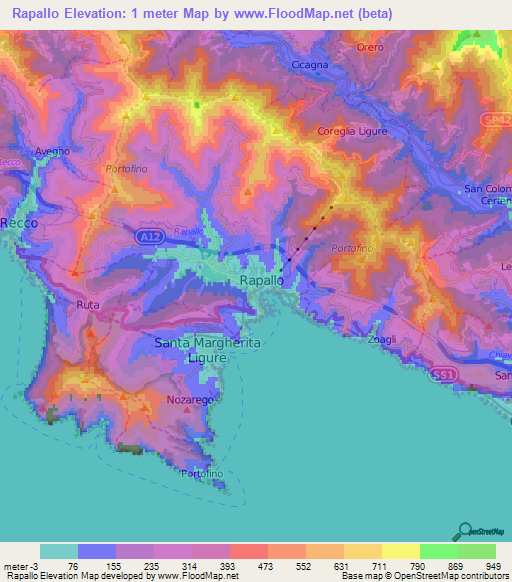 Elevation Of Rapallo Italy Elevation Map Topography Contour