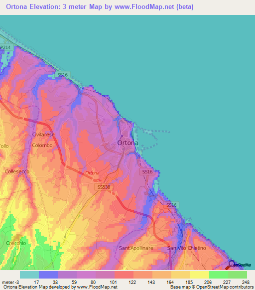 Elevation of OrtonaItaly Elevation Map Topography Contour