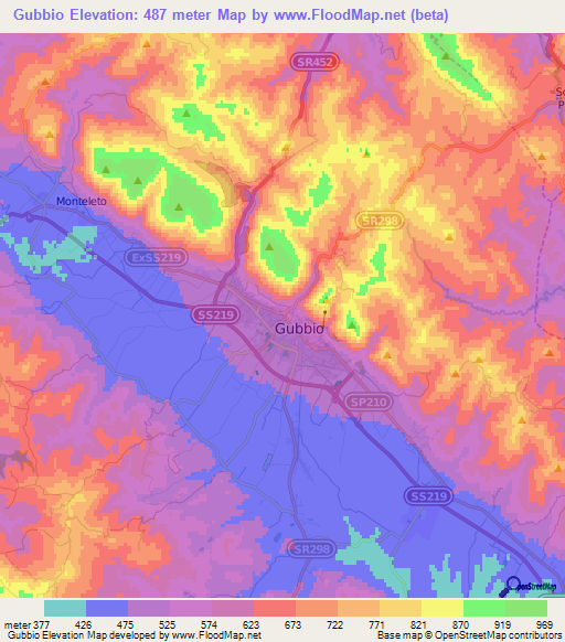 Elevation Of Gubbio Italy Elevation Map Topography Contour