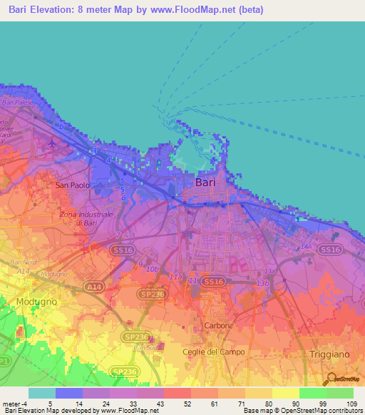 Elevation Of BariItaly Elevation Map Topography Contour - Bari map