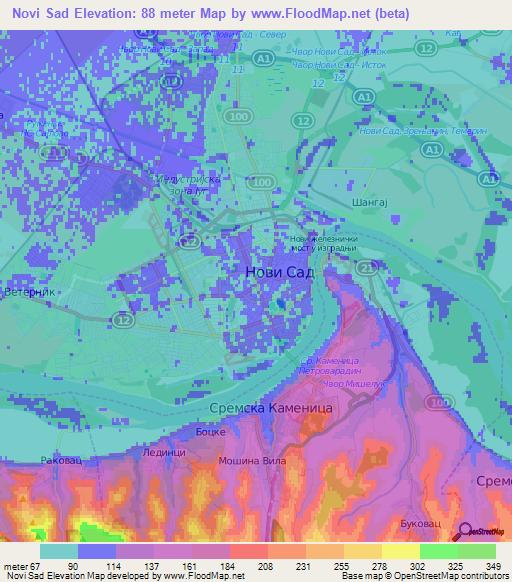 Elevation Of Novi SadSerbia Elevation Map Topography Contour - Novi sad map