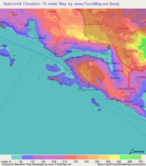 Elevation of dubrovnikcroatia elevation map topography contour dubrovnikcroatia elevation map gumiabroncs Gallery