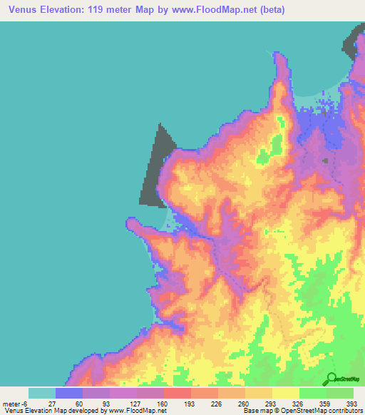 Elevation of Venus,Angola Elevation Map, Topography, Contour on