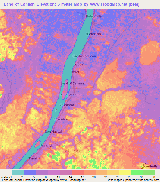 Elevation of land of canaanguyana elevation map topography contour land of canaanguyana elevation map sciox Choice Image