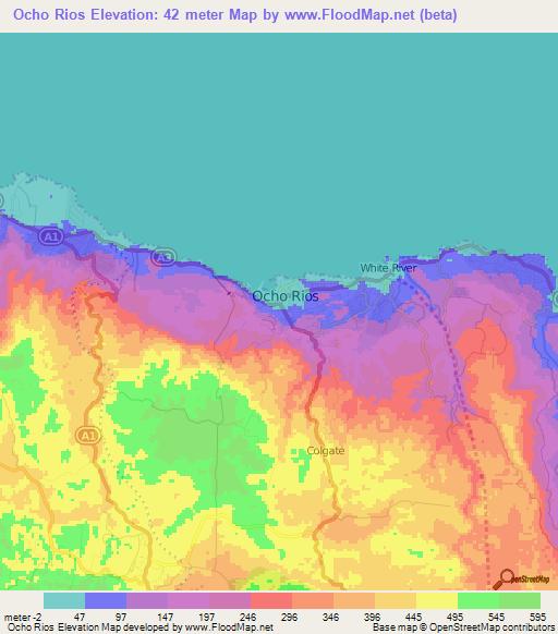 Elevation of Ocho RiosJamaica Elevation Map Topography Contour