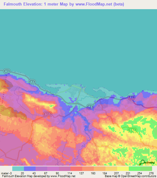 Elevation of Falmouth,Jamaica Elevation Map, Topography, Contour