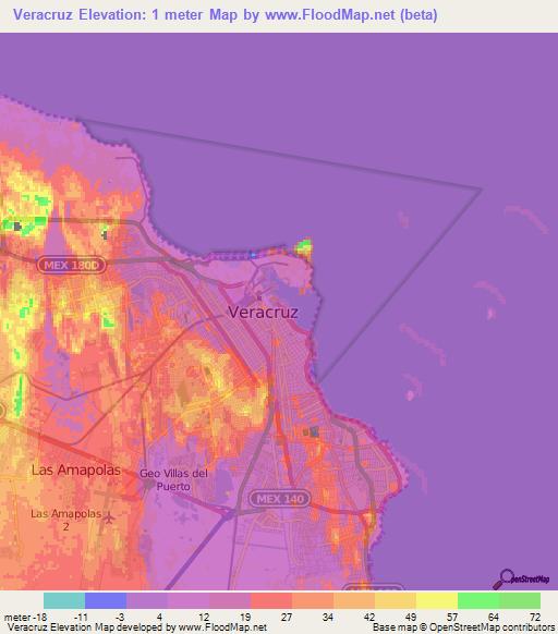 Elevation Of Veracruz Mexico Elevation Map Topography Contour