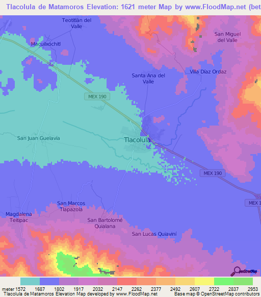 Elevation of Tlacolula de Matamoros,Mexico Elevation Map, Topography ...