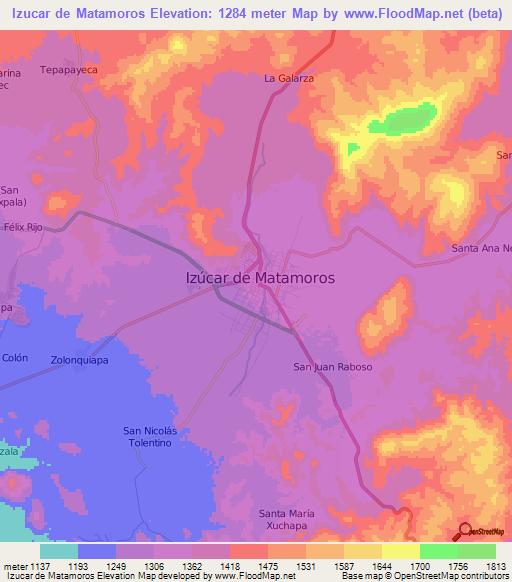 Elevation of Izucar de Matamoros,Mexico Elevation Map, Topography ...