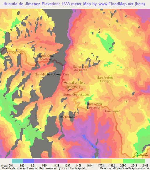 Elevation of Huautla de Jimenez,Mexico Elevation Map, Topography ...
